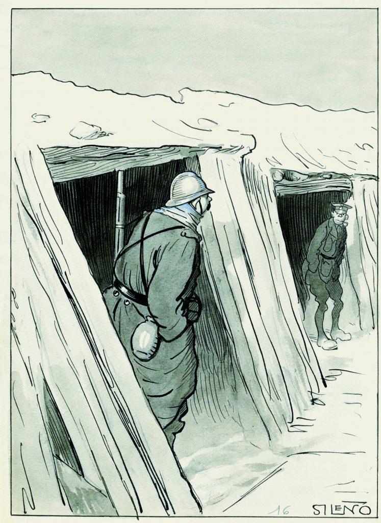 La ofensiva franco-inglesa. –Oiga usted, amigo: ¿cuántos kilómetros habrá de aquí a Berlín? –¡No tantos como yardas!, Blanco y Negro núm. 1333, 3 de diciembre de 1916, aguada de tinta, tinta y guache sobre papel, 310 x 234 mm.