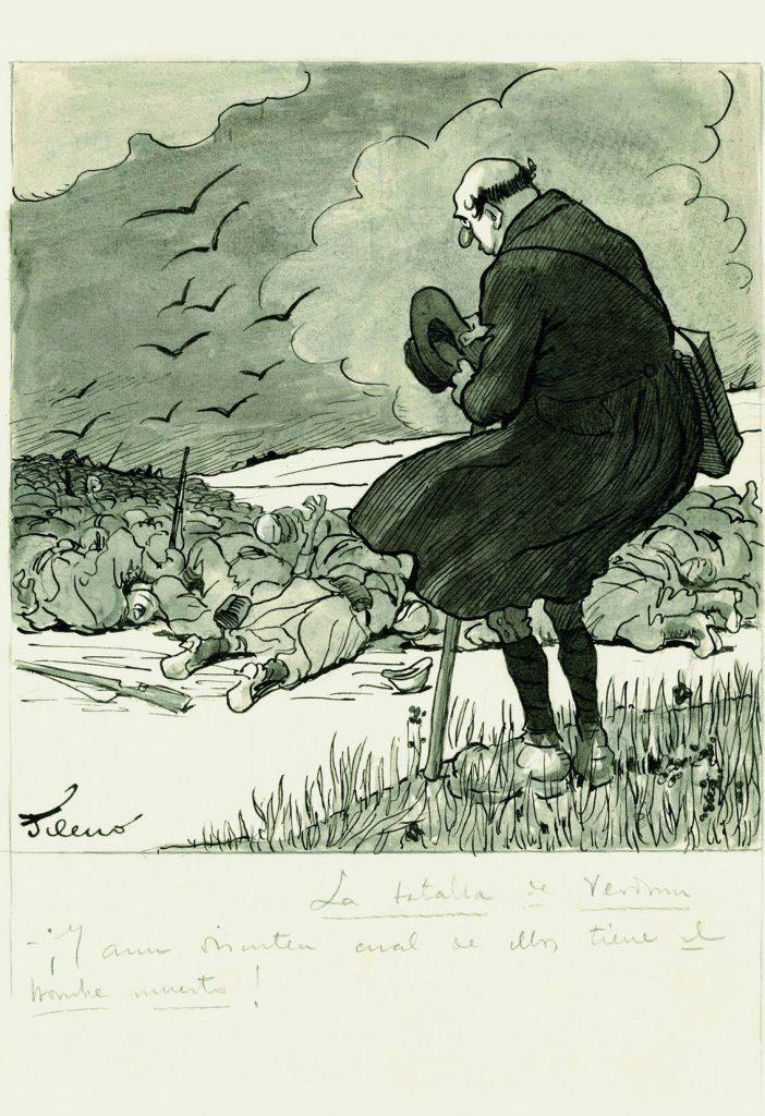 """La batalla de Verdún. –¡Y aún discuten cuál de ellos tiene """"el hombre muerto""""!. El personaje que aparece en esta viñeta es Gedeón, ABC núm. 1061, 27 de marzo de 1916, aguada de tinta, tinta y guache sobre papel, 326 x 225 mm."""