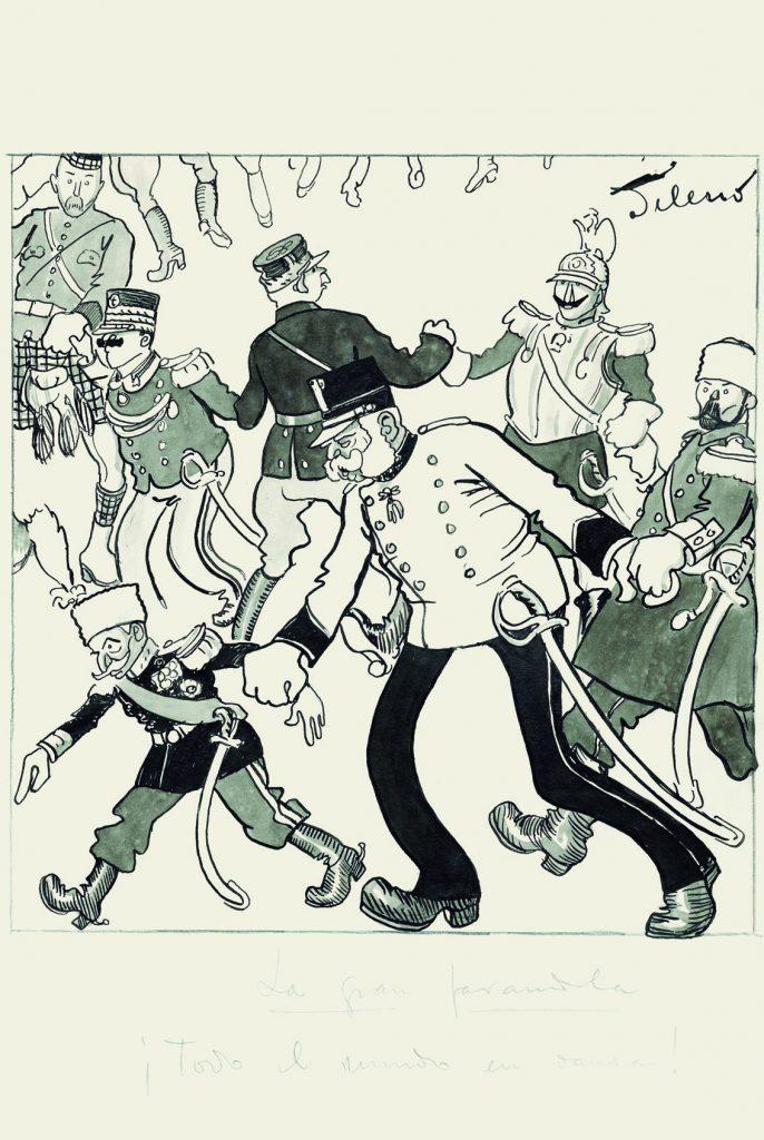 ¡La gran farandola! ¡Todo el mundo en danza!, apaecida en Gedeón, núm. 975, ABC núm. 3333, 2 de agosto de 1914, aguada de tinta y tinta sobre papel, 342 x 231 mm. Arriba, El ángel de la paz. ¡No se le ve el fin!, aparecida en Gedeón, núm. 1907, ABC, núm. 4209, 30 de diciembre de 1916, aguada de tinta y tinta sobre papel, 231 x 332 mm. Todas los dibujos, Museo ABC, Madrid.