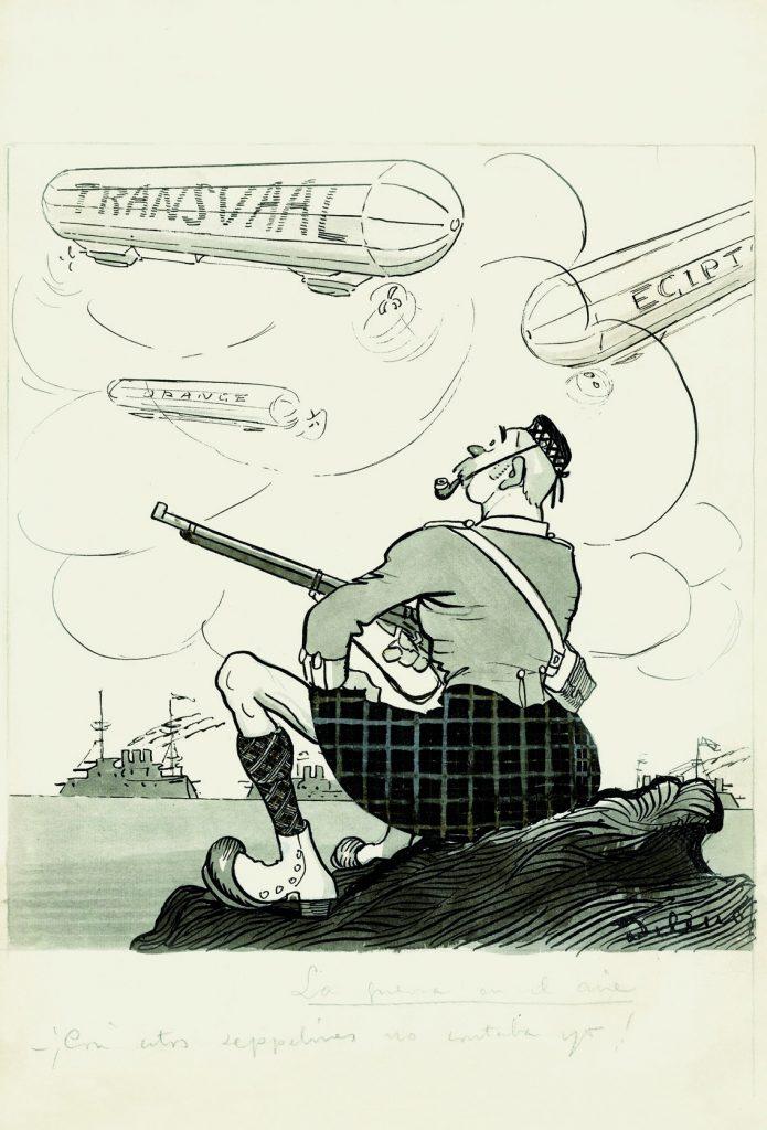 """La guerra en el aire. –¡Con estos """"zepelines"""" no contaba yo!, Gedeón núm. 988, ABC núm. 3424, 1 de noviembre de 1914, aguada de tinta, tinta y guache sobre papel, 346 x 238 mm."""