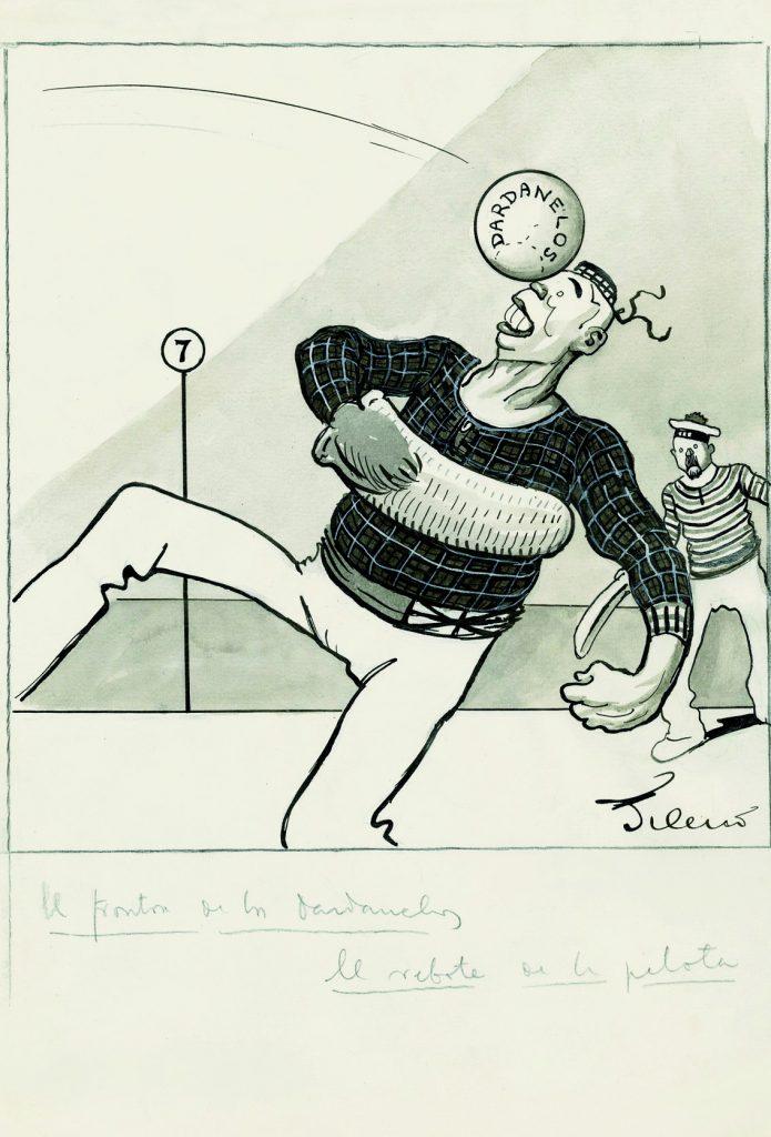 En el frontón de los Dardanelos. El rebote de la pelota, Gedeón núm. 1034, ABC núm. 3744, 19 de septiembre de 1915, aguada de tinta, tinta guache sobre papel, 326 x 225 cm.