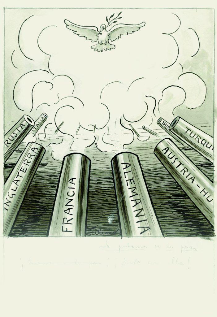 La paloma de la paz. ¡Guerra a la paz! ¡Duro con ella!, aparecida en Gedeón núm. 1041, ABC, núm. 1793, 7 de noviembre de 1915, aguada de tinta, tinta y guache sobre papel, 319 x 222 cm.