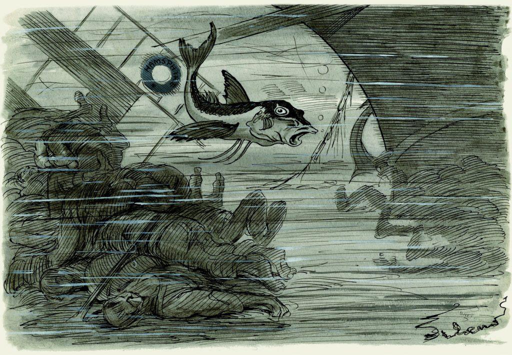 Comentarios de un pez en el agua: –¡Ya se ve que los ingleses siguen, a pesar de todo, siendo los absolutos dueños del mar!, Gedeón núm. 1068, ABC núm. 4007,10 de junio de 1916, aguada de tinta, tinta y guache sobre papel, 226 x 325 mm.