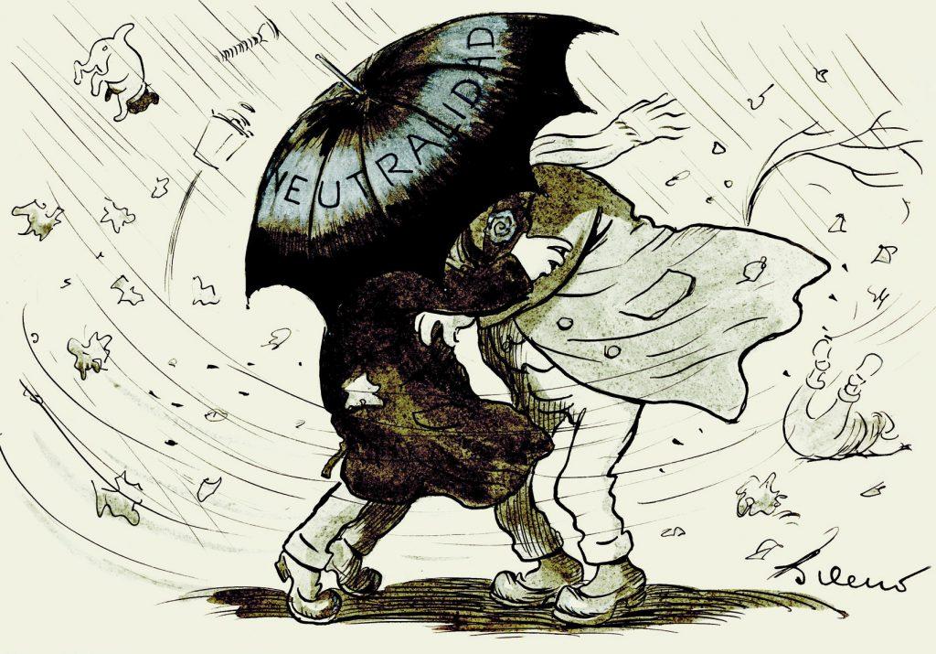 Furioso temporal. –¡Hay que agarrarse, Calínez! Esta caricatura muestra al personaje de Gedeón y su sobrino. Gedeón num. 1103, ABC núm. 4251, 10 de febrero de 1917, aguada de tinta, tinta y guache sobre papel, 229 x 333 mm.