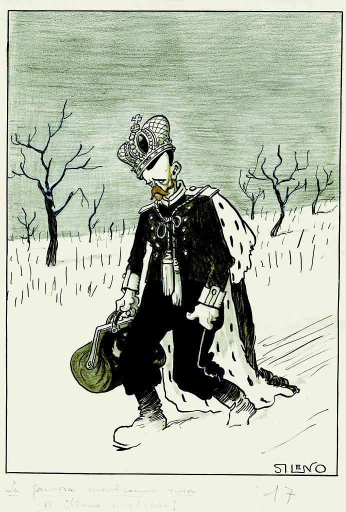 La famosa movilización rusa. ¡El último movilizado!, Blanco y Negro núm. 1349, 25 de marzo de 1917, grafito, tinta, aguada de tinta, acuarela y guache sobre papel, 342 x 239 mm.
