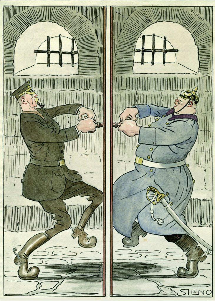 Echándose la llave. –¡Ahí te quedas encerrado hasta que te rindas por hambre!, Blanco y Negro núm. 1345, 25 de febrero de 1917, tinta y acuarela sobre papel, 321 x 236 mm.