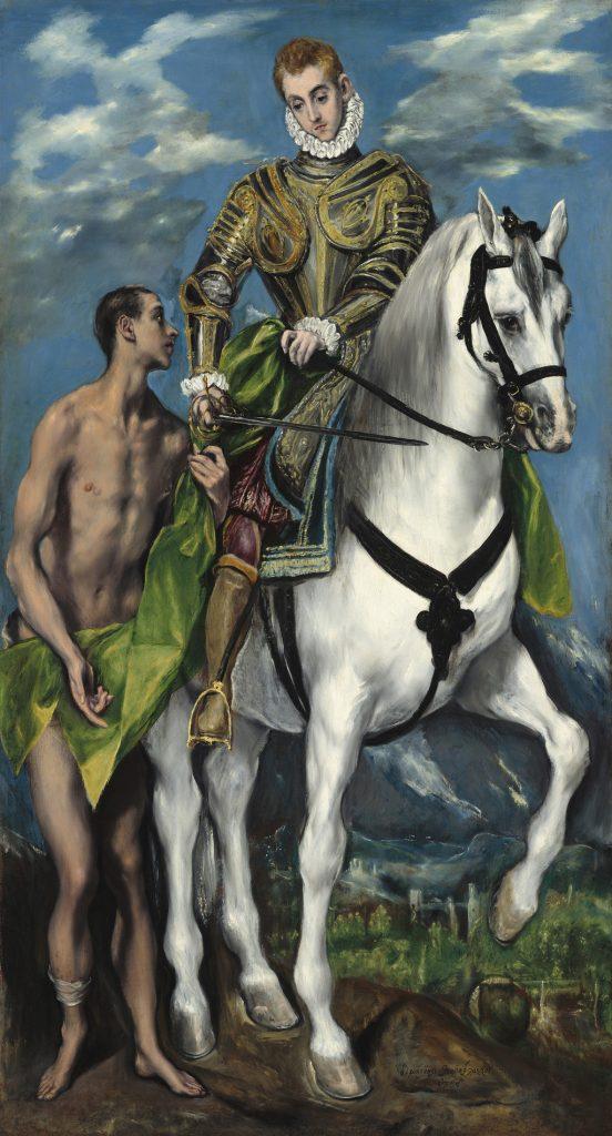 San Martín y el mending, del Greco, 159-99, óleo sobre lienzo, Washington, National Gallery of Art, Colección Widener. Arriba, Tres músicos, de Velázquez, h. 1616-18 (foto Jörg P. Anders).