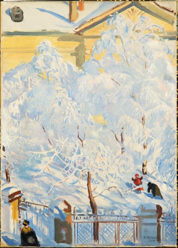 Escarcha, por Borís Kustódiev,1917, óleo sobre lienzo, 63x 45,5 cm. Todas las obras, Colección del Museo Ruso.