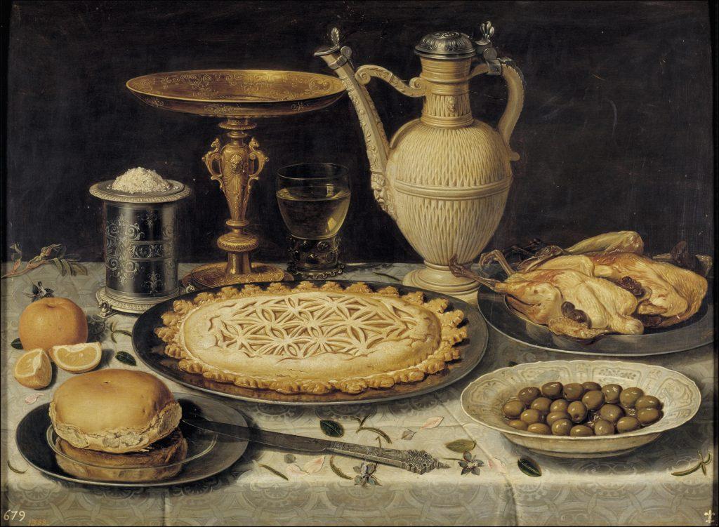Mesa, hacia 1611, óleo sobre tabla, 55 x 73 cm, Madrid, Museo del Prado,. Procede de la colección de la reina Isabel de Farnesio, localizándose en el Palacio de La Granja en 1746.