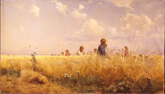 Temporada decosecha (Segadores), por Grigori Miasoiedov, 1887, óleo sobre lienzo, 179x275cm.