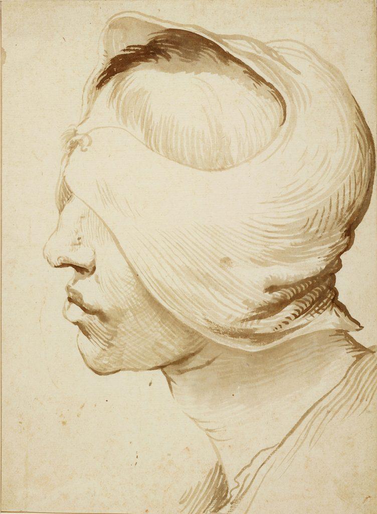 Cabeza venda, dibujo de José de Ribera, h. 1630, Museos Estatales de Berlín (foto Volker-H. Schneider).