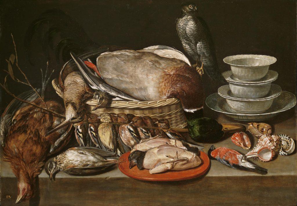 Bodegón, hacia 1611, óleo sobre tabla, 52 x 71 cm, Madrid, Museo del Prado.Colección Real (Real Alcázar, Madrid, donde su majestad comía en verano).