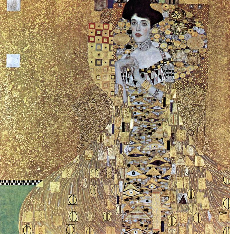 Retrato de Adele Bloch-Bauer I o La dama dorada, por Gustav Klimt, 1907, óleo y oro sobre tela, 138 x 138 cm, Nueva York, Neue Galerie.