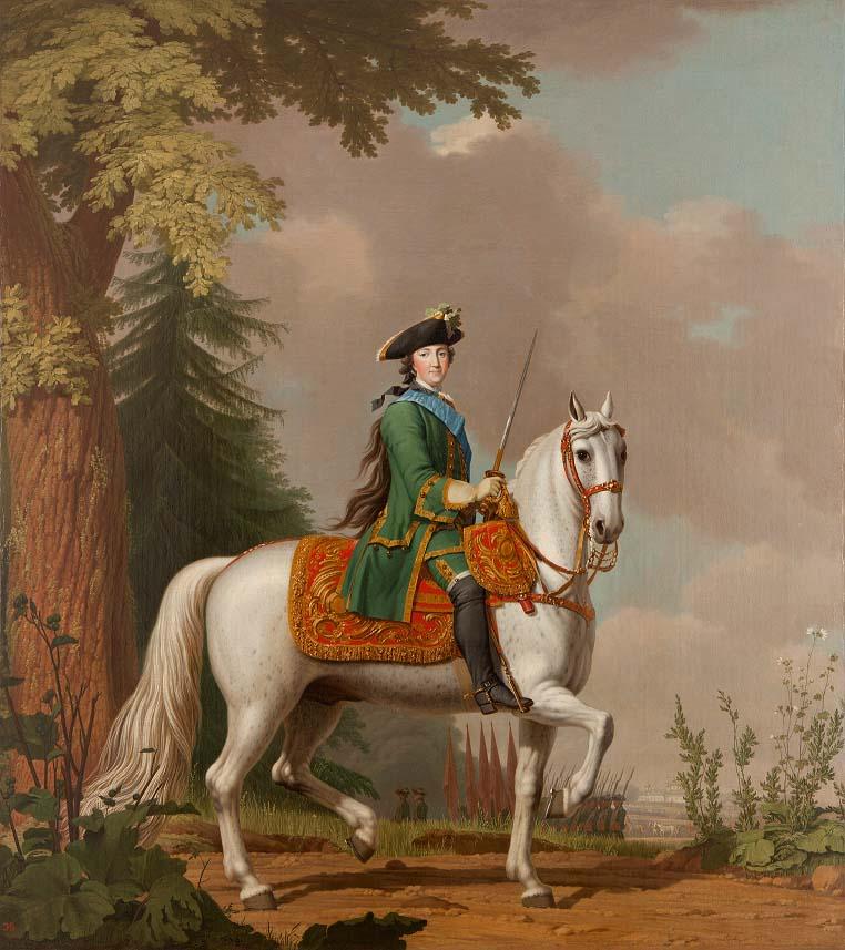 Retrato de Catalina II sobre su caballo Brillante, óleo sobre lienzo.