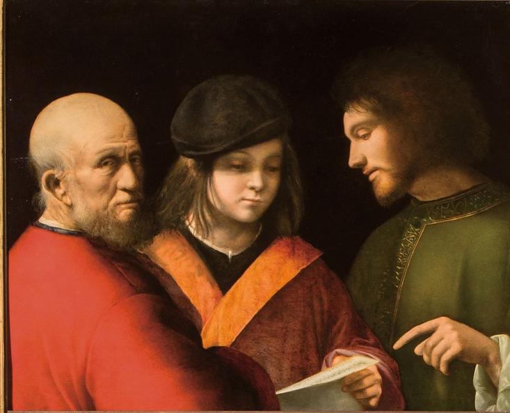 Las etapas de la vida o Lección de Canto, de Giorgione, 1500-1501, óleo sobre tabla, Florencia, Galería de los Uffizi, Galería Palatina y Apartamentos Reales. Arriba, detalle del mecanismo de un reloj de bolsillo.