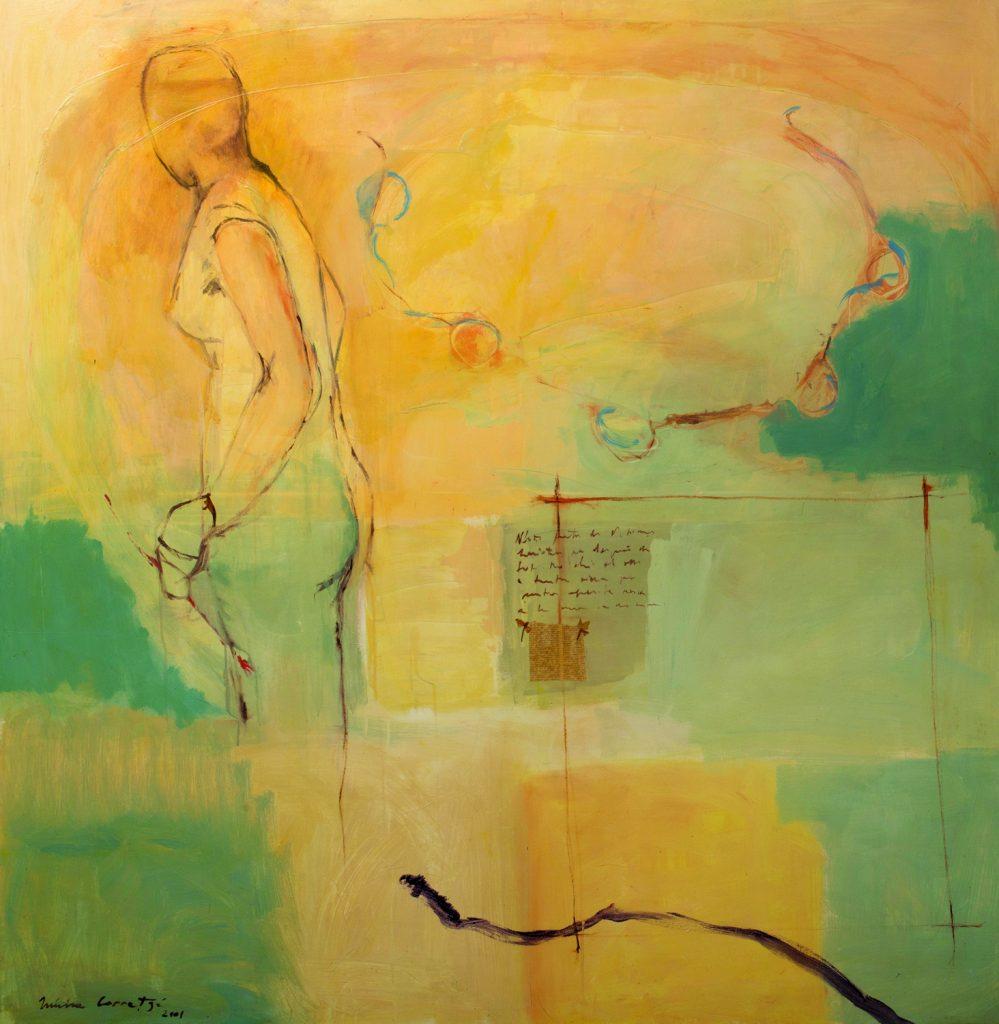 La memoria es teatro del espíritu (II), 2001, acrílico y collage sobre tela, 150 150 cm. Arriba, L'Atlas de Kublai Khan (díptico), 2016, acrílico y collage sobre tela, 162 x 260 cm.