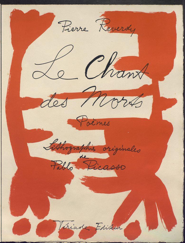 Le chant des morts, por Pablo Picasso, página 5, enero de 1946-marzo de 1948, aguafuerte en rojo y litografías en rojo y negro sobre planchas de zinc, 403 x 252 mm. Todas las imágenes, cortesía de Museo Casa Natal de Málaga. Arriba, Cubierta de Le chant des morts.