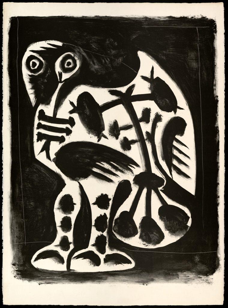 El gran búho, Vallauris, 10 de marzo de 1948, aguada y raspador sobre zinc, papel vitela Arches con filigrana, 76,3 x 56,4 cm.