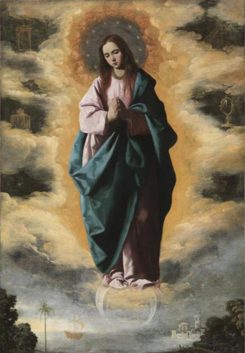 Inmaculada Concepción, por Francisco Zurbarán, h. 1630, óleo sobre lienzo, 128 x 89 cm, Madrid, Museo Nacional del Prado, Adquirido en 1956.