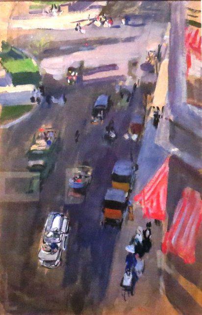 Quinta Avenida, Nueva York, 1911, guache sobre papel. Arriba, Calle 59, Nueva York, 1911. Gouache sobre cartón. Museo Sorolla, Madrid. Todas las obras, Madrid, Casa-Museo Sorolla.
