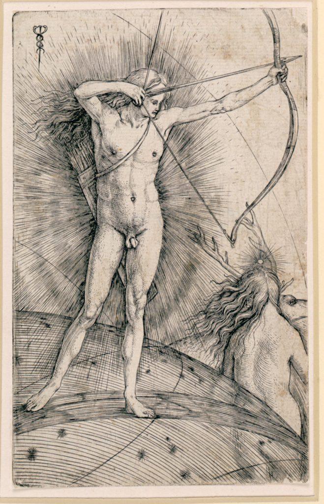 Apolo y Diana, de Jacopo de' Barbari, grabado, 15,9 x 10 cm, Vienna, Albertina.
