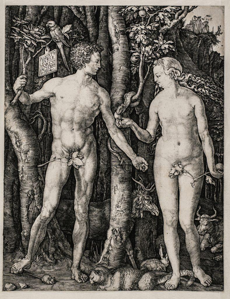 Adán y Eva, de Alberto Durero, 1504, buril, 24,8 x 19,1 cm, Viena, Akademie der bildenden Künste, Kupferstichkabinett.