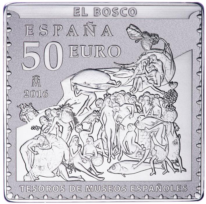 Reverso de la moneda de plata de 50 euros. Detalle de El jardín de las delicias.