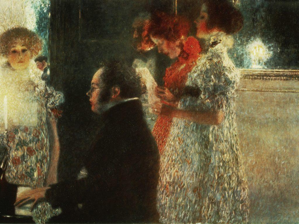 Franz Schubert al piano, un óleo de Gustav Klimt, 1889.