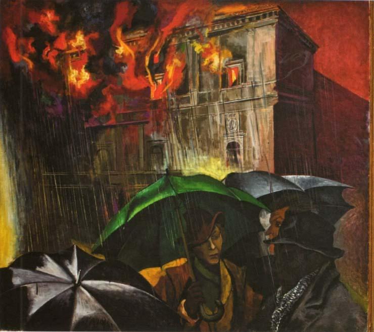 Noche metafísica, de Renato Guttuso. Incendio de la Cancillería Apostólica, 1966.