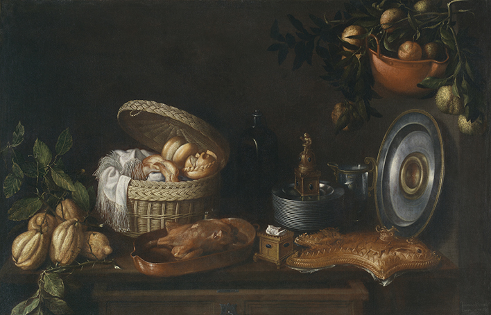 Bodegón, por Tomás Hiepes, óleo sobre lienzo, 102 x 157 cm, 1668. Madrid, Museo Nacional del Prado.