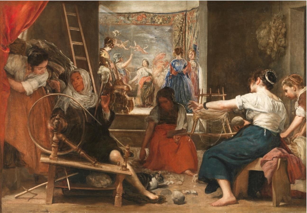 Las hilanderas o la fábula de Aracne, por Diego Velázquez, 1655-60, óleo sobre lienzo, 220 x 289 cm, Madrid, Museo del Prado. El hecho de que uno de los elementos principales del cuadro sea un tapiz, y que este representa una obra de Tiziano ha propiciado las lecturas en clave histórico-artística. Se ha señalado así, que la obra representa el paso de la materia (el proceso de hilar) a la forma (el tapiz) a través del poder del arte, con lo que estaríamos ante una defensa de la nobleza de la pintura.