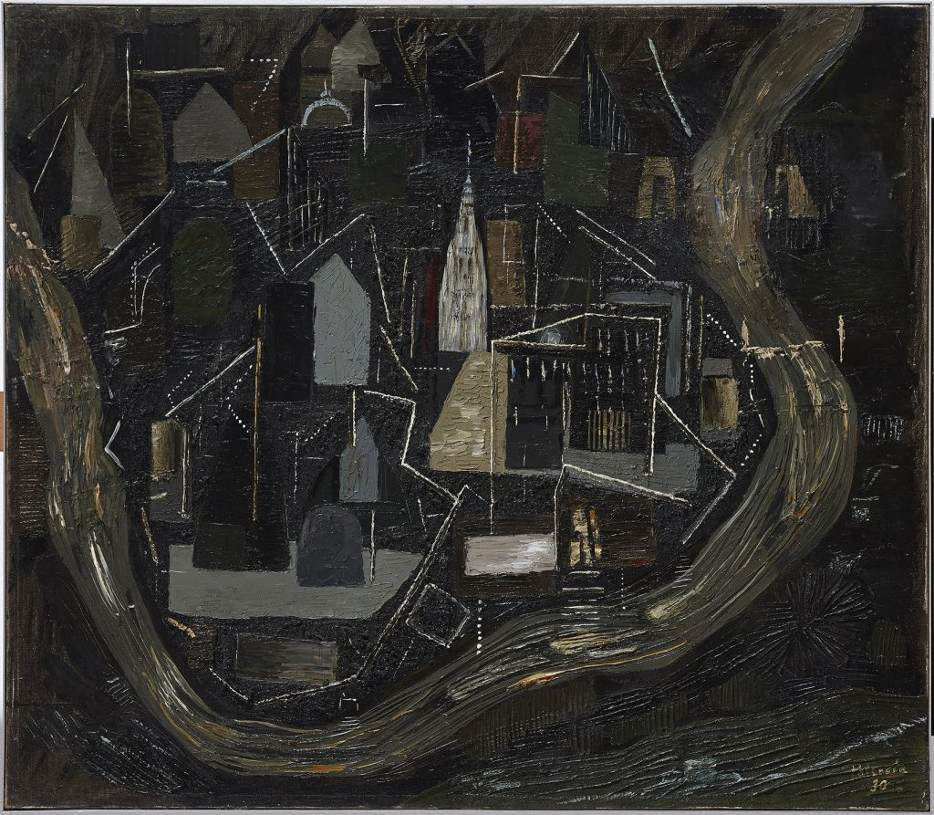 """Toledo de noche"", por Benjjamín Palencia, 1930, leo sobre lienzo, 77,5 x 90 cm. Museo Reina Sofía, Madrid."