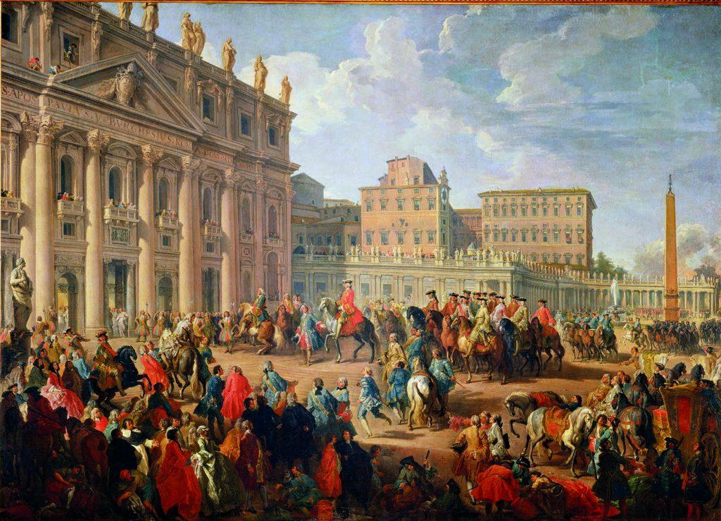 Don Carlos de Borbón visita San Pedro, de Giovanni Paolo Pannini, Nápoles, Museo de Capodimonte.