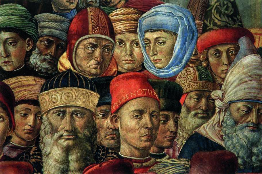 Sobre estas líneas, detalle de la pared Este (autorretrato de Gozzoli y retratos de personajes florentinos de su época). Arriba, detalle de los rostros de los tres Reyes Magos.