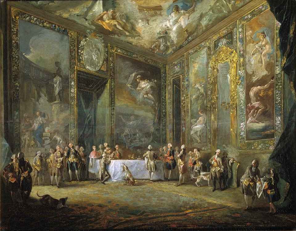 Carlos III comiendo ante su corte, de Luis de Paret.