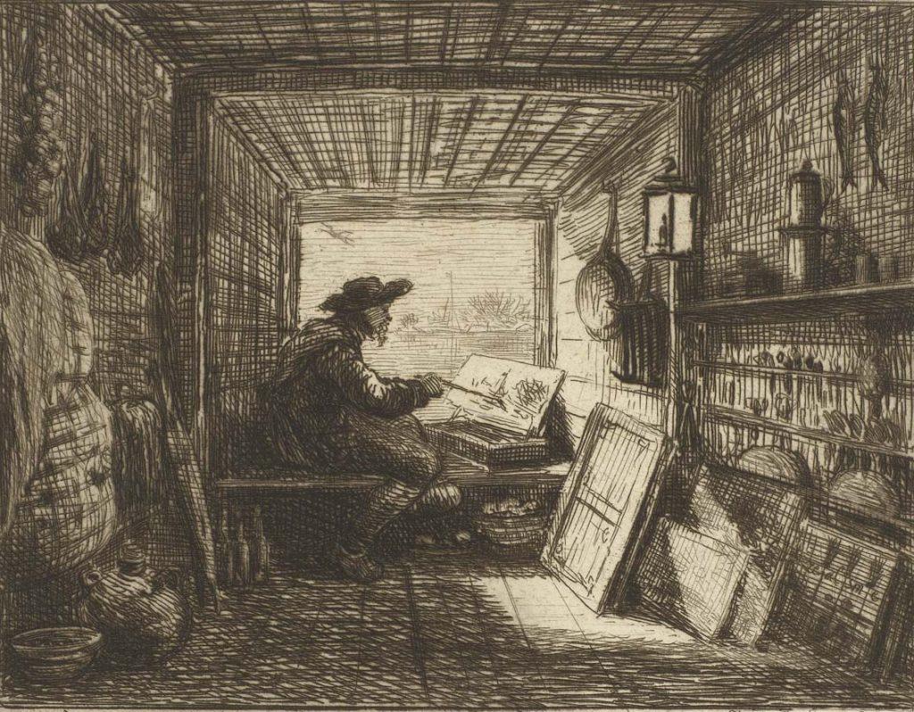 Sobre estas líneas, El barco-taller, de Charles François Daubigny. Arriba, Ondergaande-zon-bij-Villerville-1874.-Charles-François-Daubigny-1817.