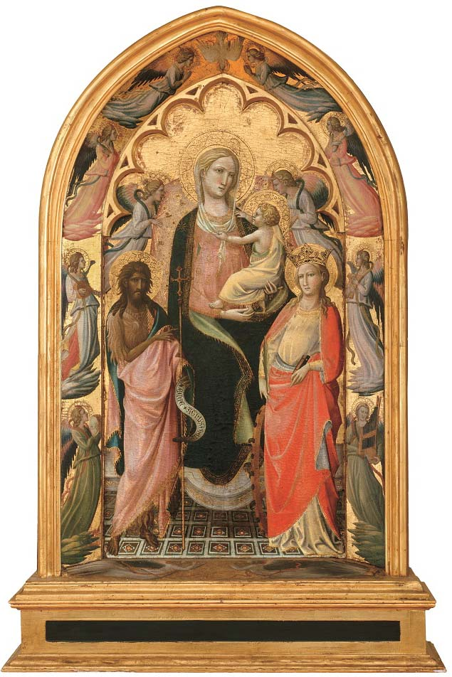Sobre estas líneas, Virgen con Niño, san Juan Bautista, santa Caterina y dos ángeles, segundo cuarto del siglo XV, témpera sobre tabla, 114,3 x 67,6 cm, Hartford (Connecticut), Wadsworth Atheneum Museum of Art, The Ella Gallup Sumner and Mary Catlin Sumner Collection Fund. Arriba, Alegoría de las siete artes liberales, de Giovanni dal Ponte, h. 1430-35, témpera sobre tabla, 45 x 155 cm, Madrid, Museo del Prado.