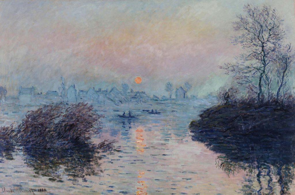 """Claude Monet (1840-1926). """"Soleil couchant sur la Seine à Lavacourt, effet d'hiver"""". Huile sur toile, 1880. Musée des Beaux-Arts de la Ville de Paris, Petit Palais."""
