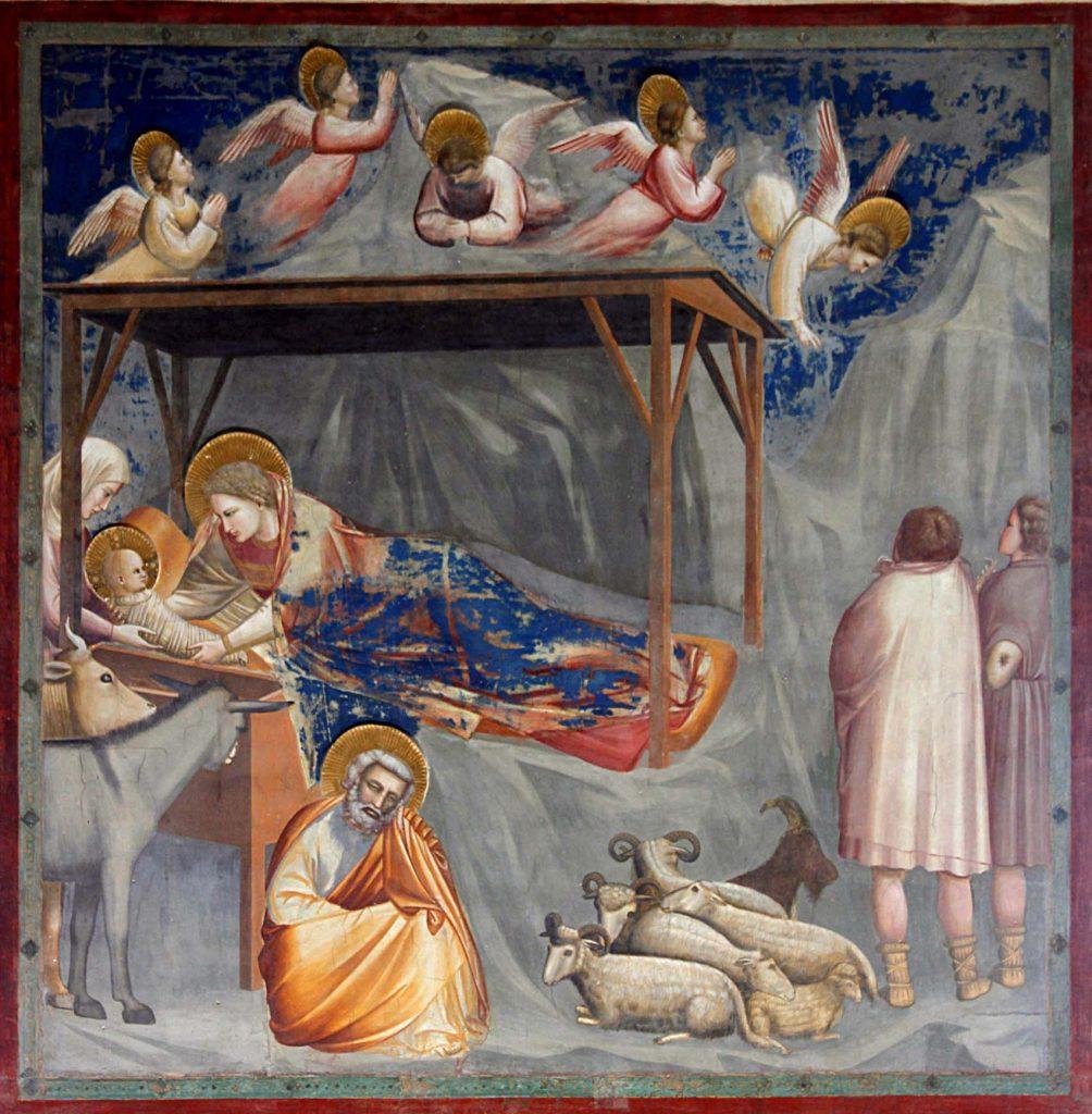 Sobre estas líneas, Adoración de los pastores, de Giotto, frescos de la Capilla de los Scrovegni, h. 1303-1305. Arriba, Adoración de los pastores, de Bonifazio de Pitati, h. 1523, óleo sobre tabla, 118 x 168 cm, Madrid, Museo del Prado.