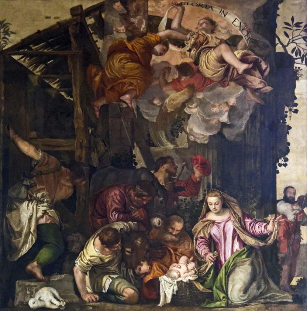 Adoración de los pastures, de Pablo Veronés, Capilla de Nuestra Señora del Rosario de San Juan y San Pablo, Venecia, h. 1558.