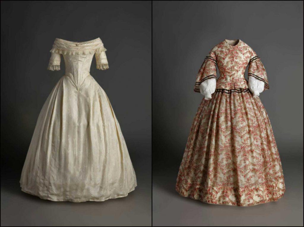 Izauierda, vestido de novia, 1820-25, tafetán de seda de color marfil. Derecha, traje de seda estampada con motivos florales,1855. Ambos, Madrid, Museo del Traje.