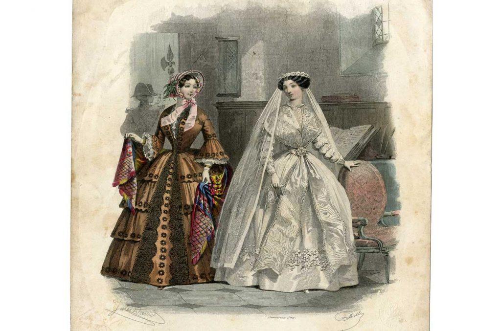 Figurín de moda, aguafuerte, 1855.