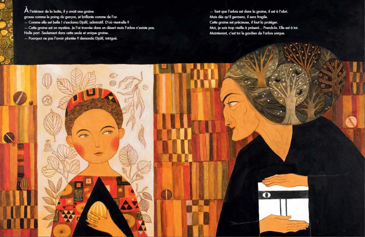 """Interior de """"El guardián del árbol"""", de Myriam Ouyessad y Anja Klauss. Editorial Juventud."""