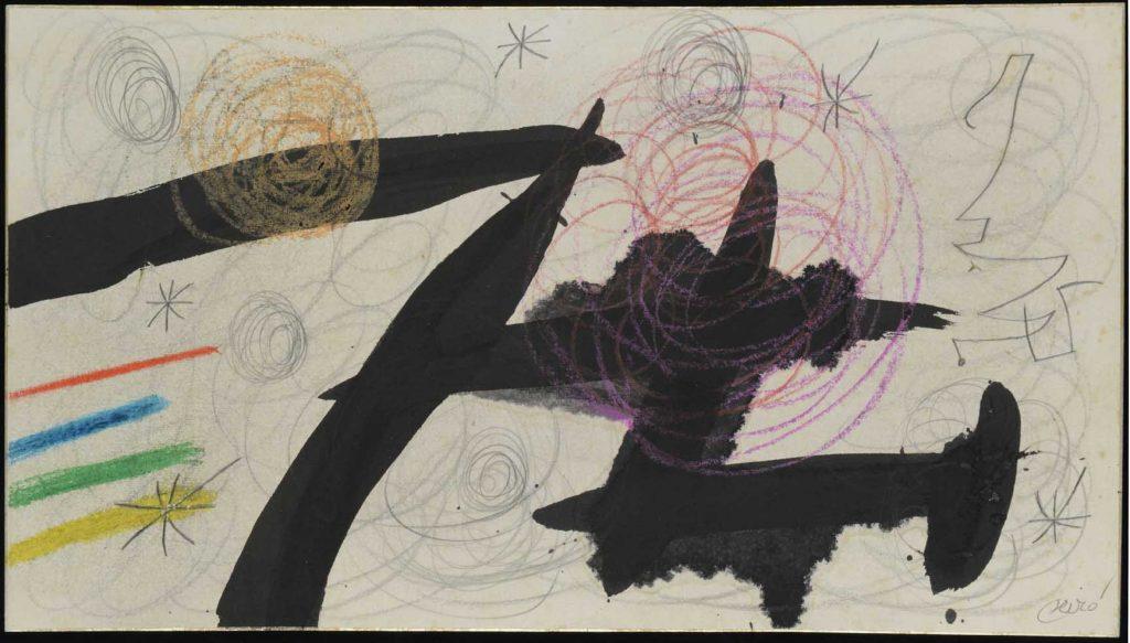 """Oiseaux, étoiles, 9 de marzo de 1977, tinta china, grafito y ceras sobre papel de arroz fijados, 27 x 48,3 cm. Miró viajó dos veces a Japón, allí se quedó fascinado por los caligrafistas y dibujantes nipones, """"sobre todo por el gesto de la mano al trazar el dibujo"""", comenta su nieto. También le interesaron mucho los papeles, como este de arroz que utiliza para esta obra."""