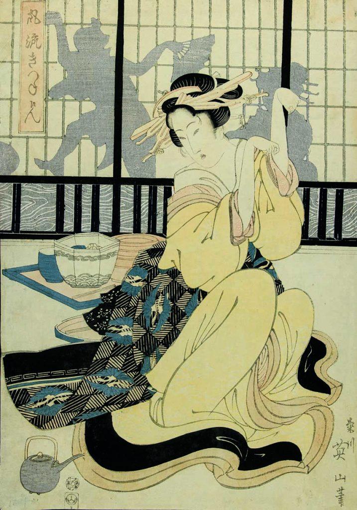 "Sobre estas líneas, ""El elegante juego del zorro"", de Kikugawa Eizan, estampa ukiyo-e Edo (Tokio), 1824, impresión xilográfica en color nishiki-e. 36,2 x 25,9 cm. Arriba, serie ""Las cincuenta y tres estaciones de Tōkaidō"", de Utagawa Hiroshige, estampas ukiyo-e Edo (Tokio), 1831-1834, impresión xilográfica en color, nishiki-e. 23,2 x 35,3 cm."