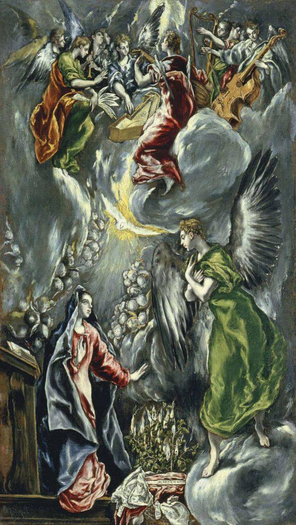 La Anunciación, del Greco, h. 1596-1600, óleo sobre lienzo, 114 x 67 cm, Madrid, Museo Thyssen Bornemisza.