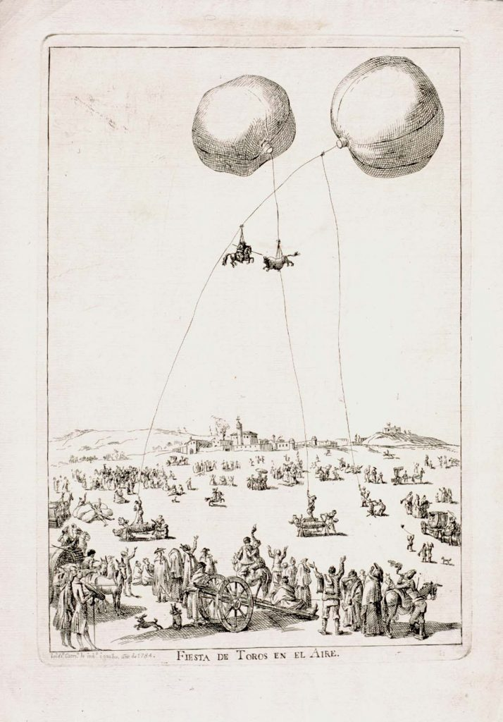 Fiesta de toros en el aire, de Isidro Carnicero, 1784, estampa en papel, 35,8 x 25,2 cm, Madrid, Museo Lázaro Galdiano.