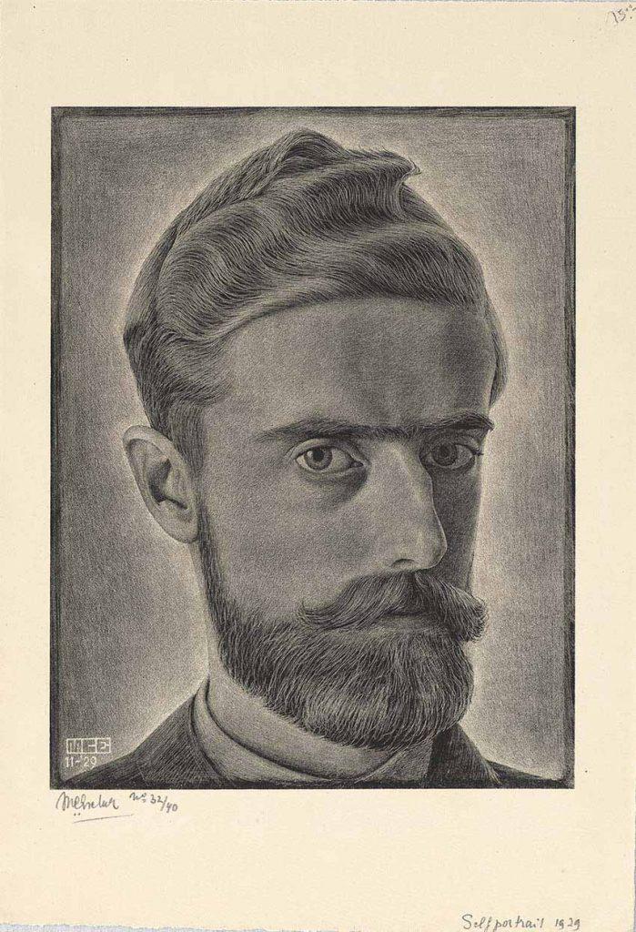 Autorretrato de E. C. Escher, 1929, litografía, 26 x 20,3 cm, Colección Federico Giudiciandrea..