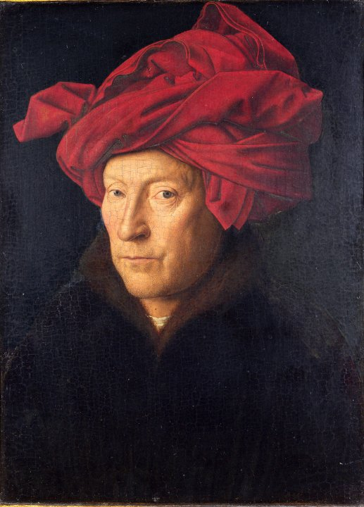Retrato de un hombre con turbante rojo, Van Eyck.