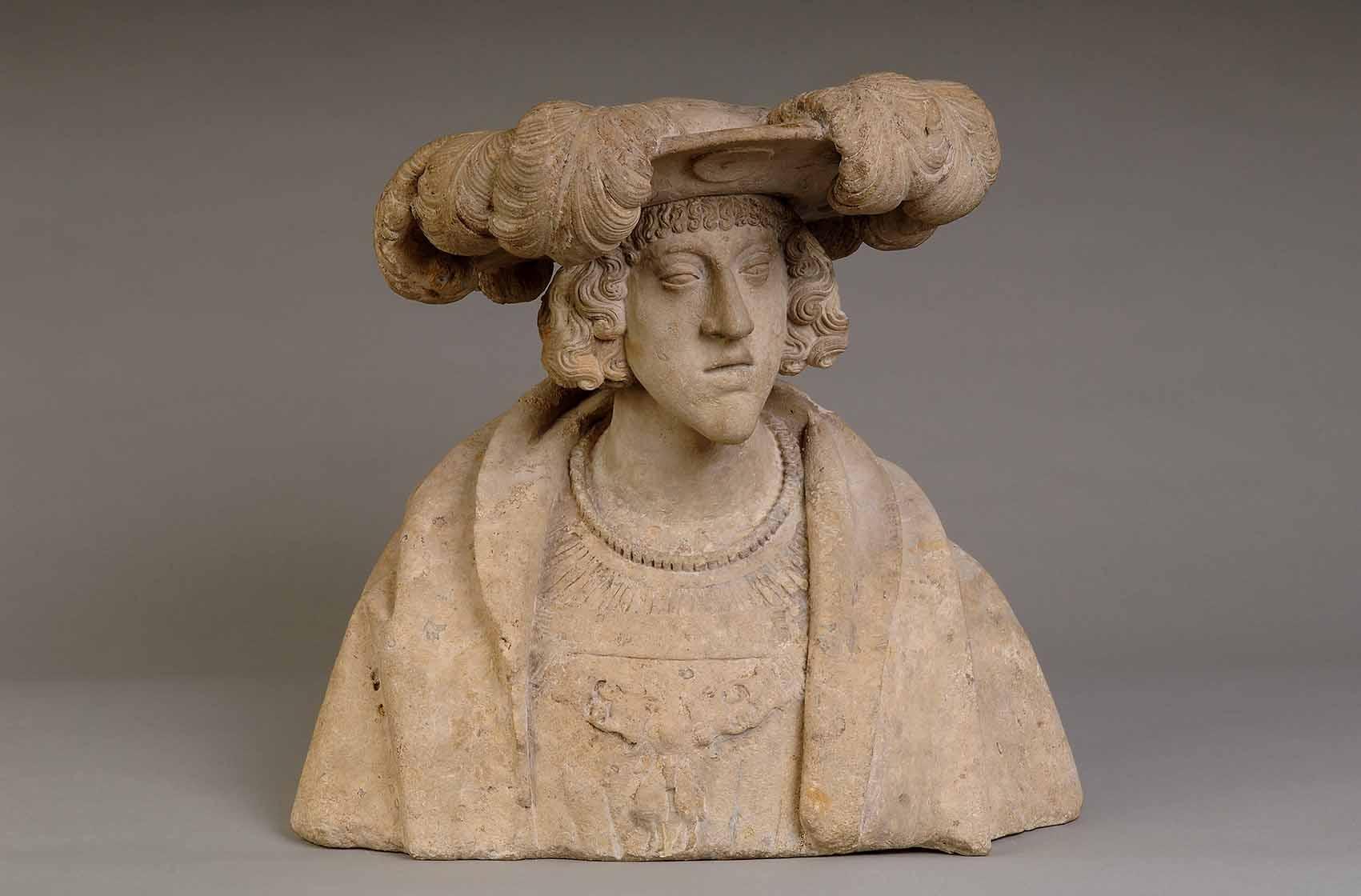 Un diálogo entre escultura y pintura Artes & contextos Retrato del Emperador Carlos V joven baja